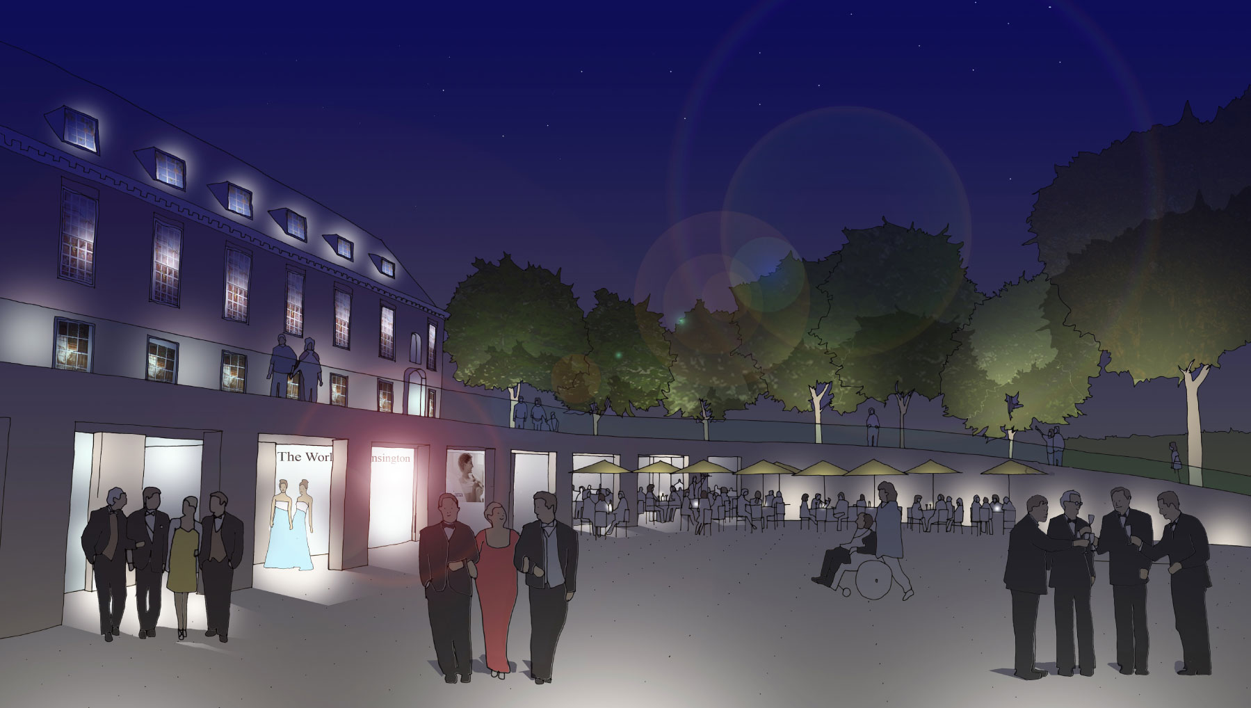 Kensington Palace Visitor Centre Night Sketch GHK Architects